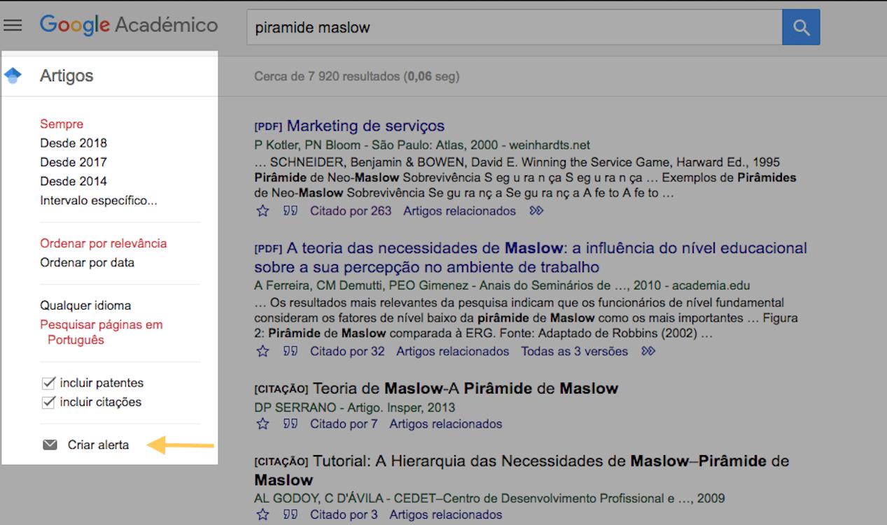 Google Acadêmico: criar alertas
