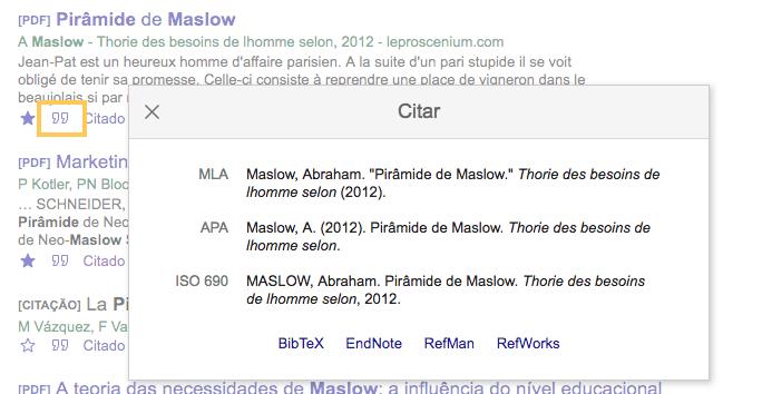 Citação bibliográfica no Google Acadêmico.