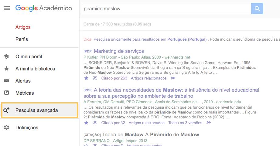 Google Acadêmico com busca avançada